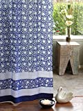Saffron Marigold – Midnight Lotus – Blue and White Floral Asian Inspired Hand Printed – Elegant Romantic Sheer Cotton Voile Curtain Panel – Tab Top or Rod Pocket – (46 x 84)