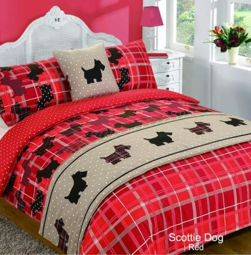 RED SCOTTIE DOGS Tartan Style Double Size 5pc Bed In A Bag Duvet Cover Bedding Set: 1 x Duvet Cover, 2 x Pillowcases, 1 x Cushion Cover, 1 x Quilted Bed Runner