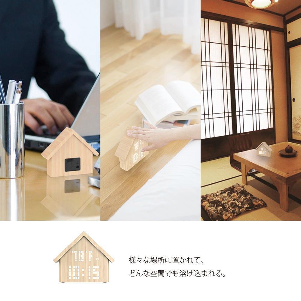 Whitelotous Wooden Alarm Clock Temperature Sounds Control Humidity Electronic LED Display 3 Levels Adjustable Brightness Desktop Digital Table Clock Home Decor