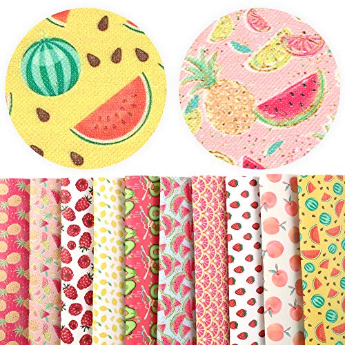 David Angie Summer Fruits Printed Faux Leather Fabric Sheet 10 Pcs 8