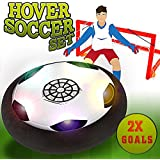 Hover Soccer Ball set with 2 goals,Electric Air Power Soccer Disc for Boys Girls Age of 2, 3, 4,5,6,7,8-16 Year Old, Indoor Outdoor Sports Ball Game with LED Lights for Children Gifts