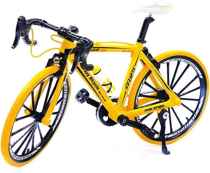 Ailejia - Mini Bicicleta de montaña de aleación de Zinc para niños, Bicicleta de Carreras Amarilla: Amazon.es: Juguetes y juegos