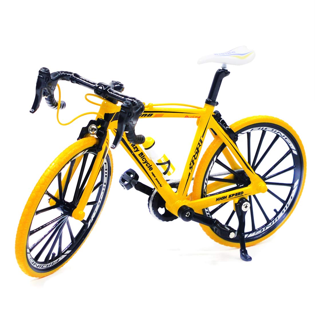 Ailejia Zinc Alloy Racing Bicycle Mountain Bike Mini Bicycle Model Cool Boy Toy Decoration Crafts for Home (Racing Bicycle Yellow)