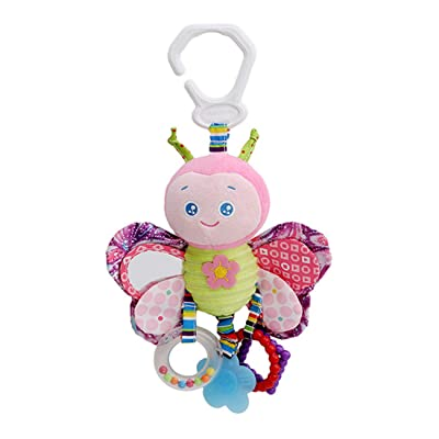 ZALING Newborn Rattle Hanging Toy Bed Crib Stroller Toddler Cartoon Animal Plush Decoration Doll Car Seat Travel Stroller Soft Plush Toys, Butterfly: Toys & Games
