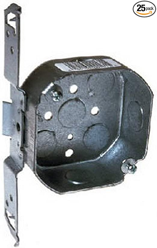 Welded 4-Inch Square Box Wood//Metal Stud Bracket Hubbell Raco 8235 2-1//8-Inch Deep 1//2-Inch and 3//4-Inch Side Knockouts