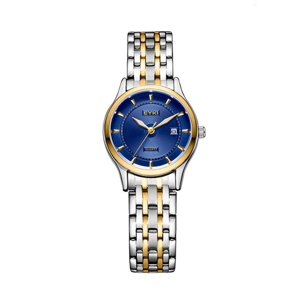 TIDOO Quartz Ladies Wristwatch Round Casual Business Brand Luxury Waterproof Two Tone Full Stainless Steel Watches Women Dress Blue Watches