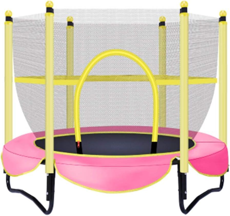 YNN Trampolín De Seguridad para Niños con Red Protectora Estable Y Duradero Trampolín De La Aptitud Jardín Balcón Colegio 150 Cm De Diámetro Rosado Amarillo Azul (Color : Pink)
