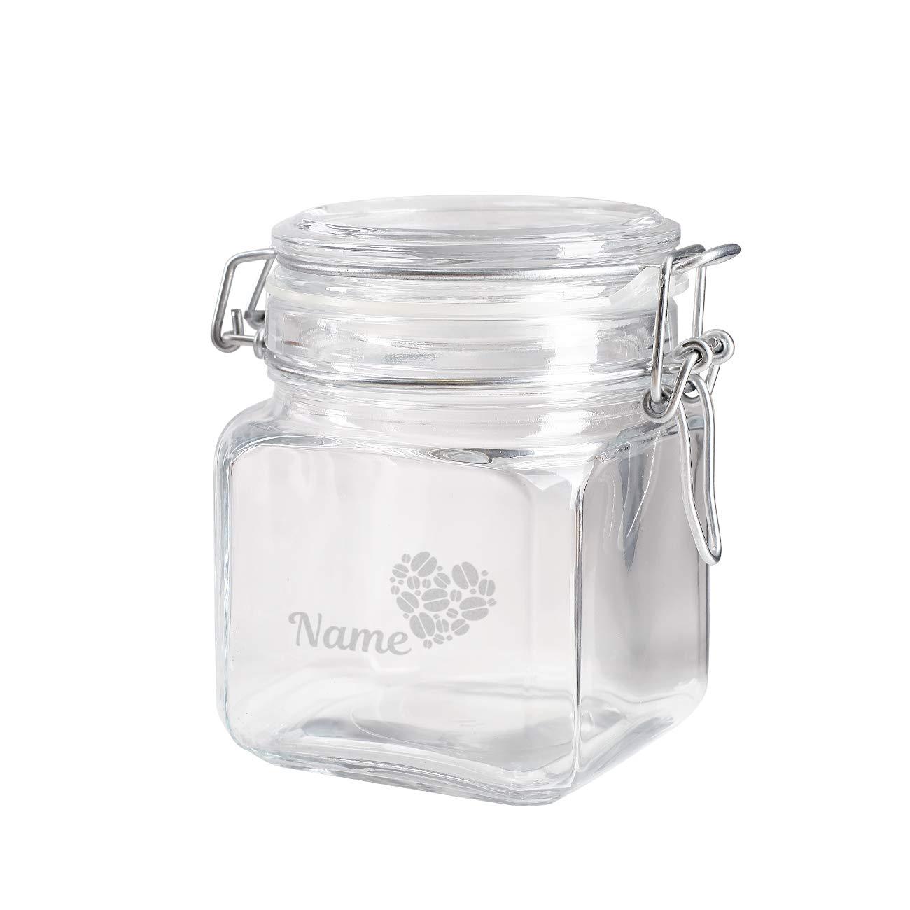 Herz & Heim® Vorratsglas mit Gravur Ihres Wunschnamen - für Kaffee, Kakao oder Zucker Kaffeebohnenherz Herz & Heim®