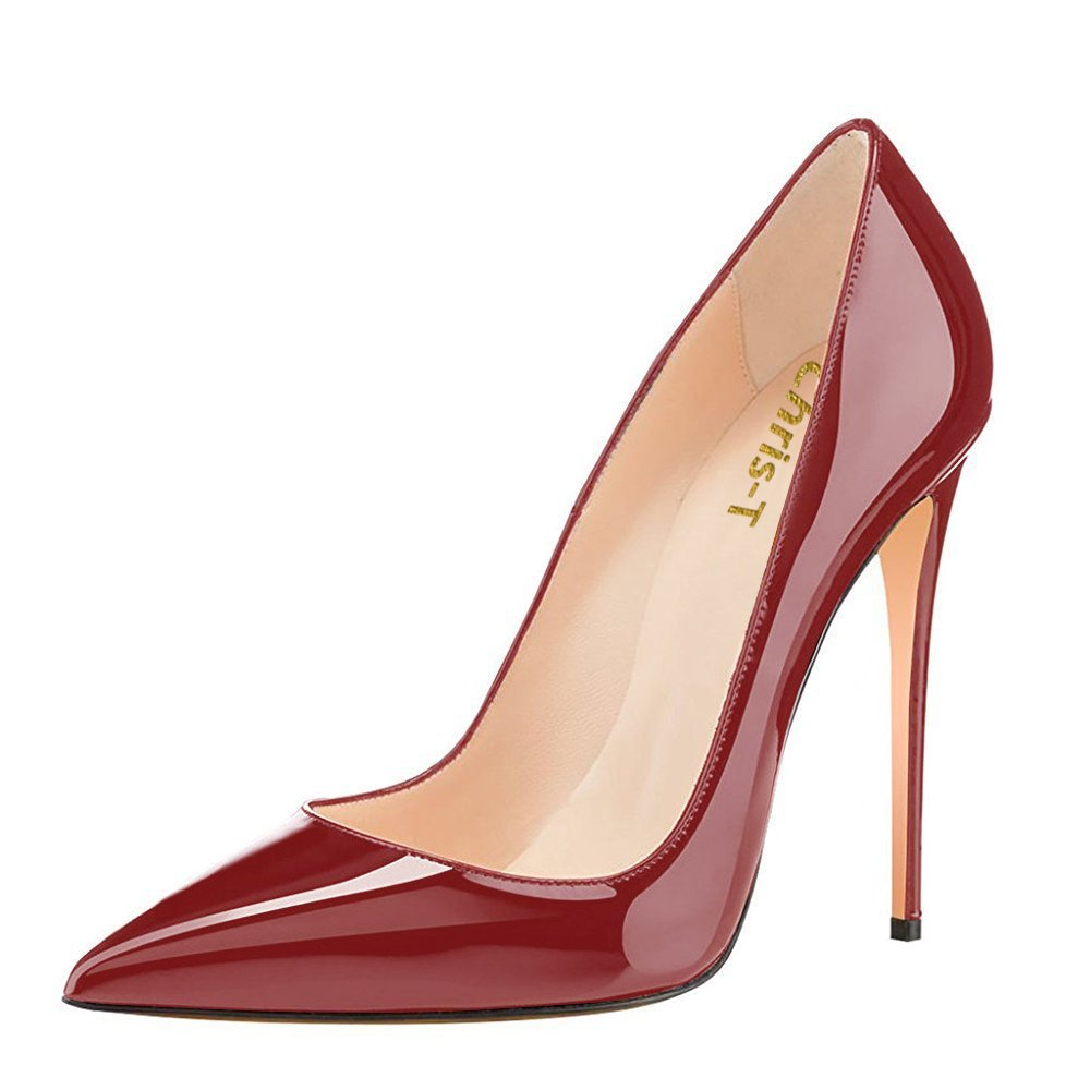 Chris-T Womens Formal Pointed Toe Pumps Basic Shoes High Heel Stilettos Sexy Slip On Dress Shoes Size 4-15 US B07F345GDC 12 B(M) US|Wine/Red S1le(bottom)