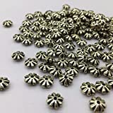 400PCs 13mm Antiqued Silvery Plated Textured Retro Oblate Flower Beads Acrylic for DIY Jewelry Projects Bracelets