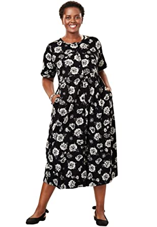 Only Necessities Womens Plus Size Petite Dress Button Front Empire