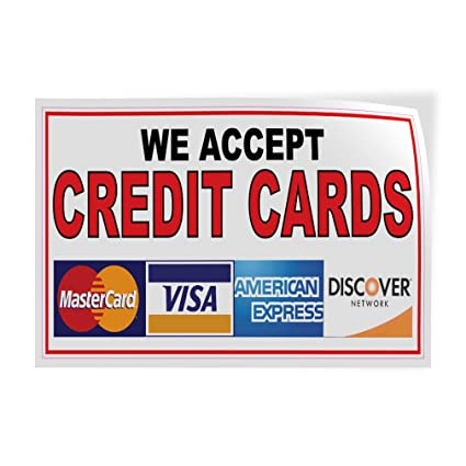 image relating to We Accept Credit Cards Printable Sign titled : Decal Sticker We Settle for Credit history Playing cards Cafe