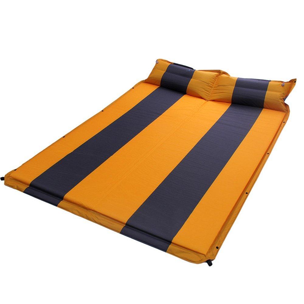 QEL Feuchtraum aufblasbares Kissen Kissen Two in One Double-Verlängerung erweitern Camping Matte Gelb 198  135  3 cm