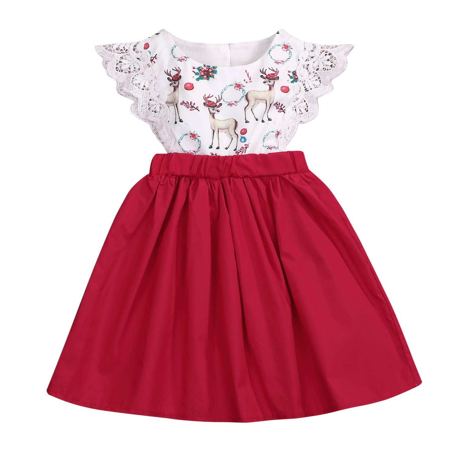 7eb7c1c54 Amazon.com: Baby Girl Christmas Dress Matching Newborn Girl Bodysuit Deer  Print Lace Princess Skirt Infant Romper Clothes Outfits Set: Clothing