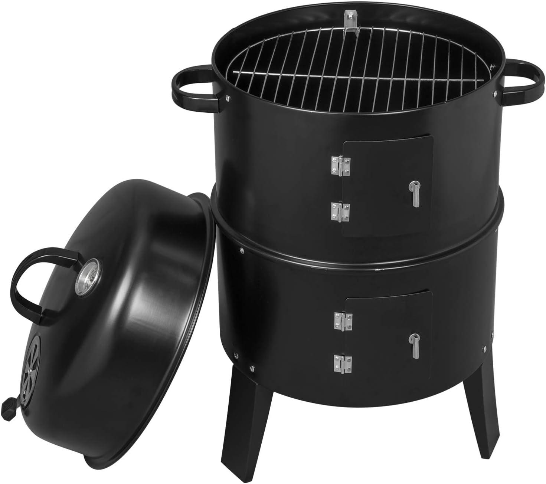 WOLTU Conception 3 en 1 Barbecue au Charbon de Bois BBQ Grill fum/é 40x84cm,Poisson Grill fumoir Grill Barbecue pour Jardin Camping,Noir CPZ8137sz
