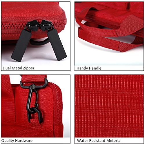 Cartinoe City 14-15 inch Laptop Briefcase Messenger Bag, Professional Business Water Resistant Shoulder bag for Apple 15.4 Inch MacBook Touchbar 15, Lenovo Dell ASUS HP Acer Chromebook 14, Red by Youpeck (Image #5)