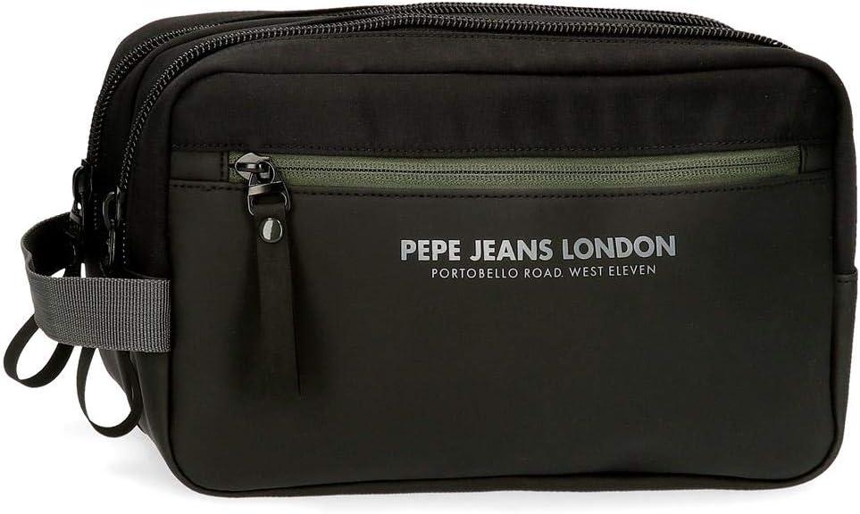 Neceser Pepe Jeans Sail Doble Compartimento Adaptable, Negro