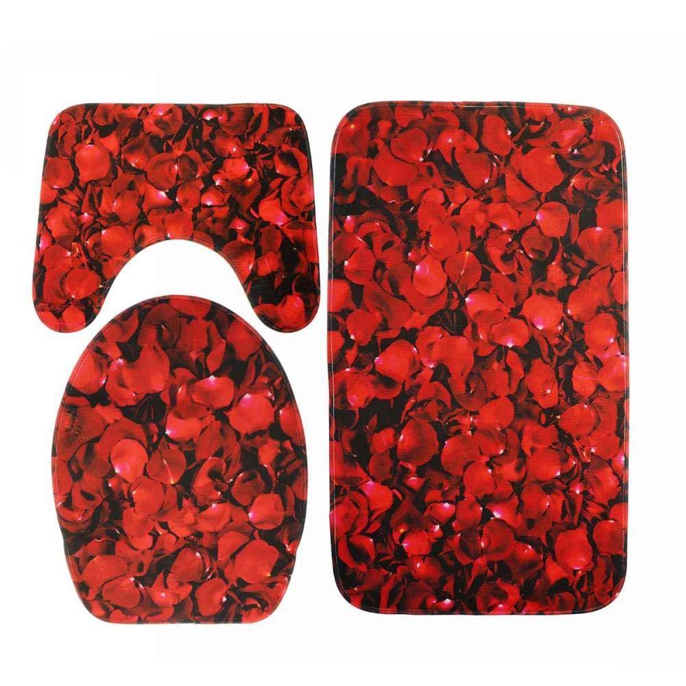 Qupanpan Bad 3-teiliges Set Rutschfeste Bad Bodenmatte Bodenmatte Bodenmatte Bad Pad saugfähige Basis Teppich Abdeckung WC Abdeckung Bad Teppich Set-S B07Q3PTS3G Duschmatten 12827f