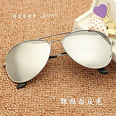LXKMTYJ Lunettes de soleil hommes Chaoren colorés rétro miroir crapaud à lunettes de sept couleurs uv, lunettes de soleil femme réfléchissant blanc