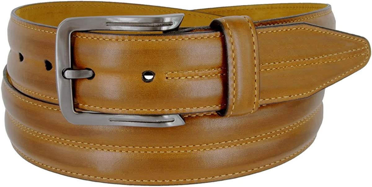 Mens Lejon Belt Center Club Full Grain Genuine Steerhide Leather Dress Belt In Tan Made In USA