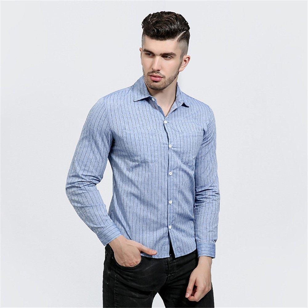 Lixus männer - Mode langärmelige Shirt Brust doppelt Tasche Mann Revers senkrecht gestreiften langärmliges Hemd,Blau,XL
