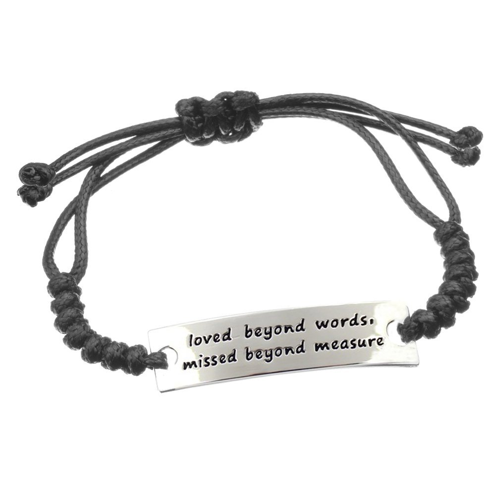 Positive Thought Cord Bracelets Promotion Gift-loved beyond words missed beyond measure Angelus MOL028-WJ