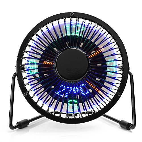 Mini USB Fan, AUSXINX Handheld Fan Desk Fan with Time LED Display Personal Cooling Fan Quiet Table with Temperature Display for Office Room Desktop Black
