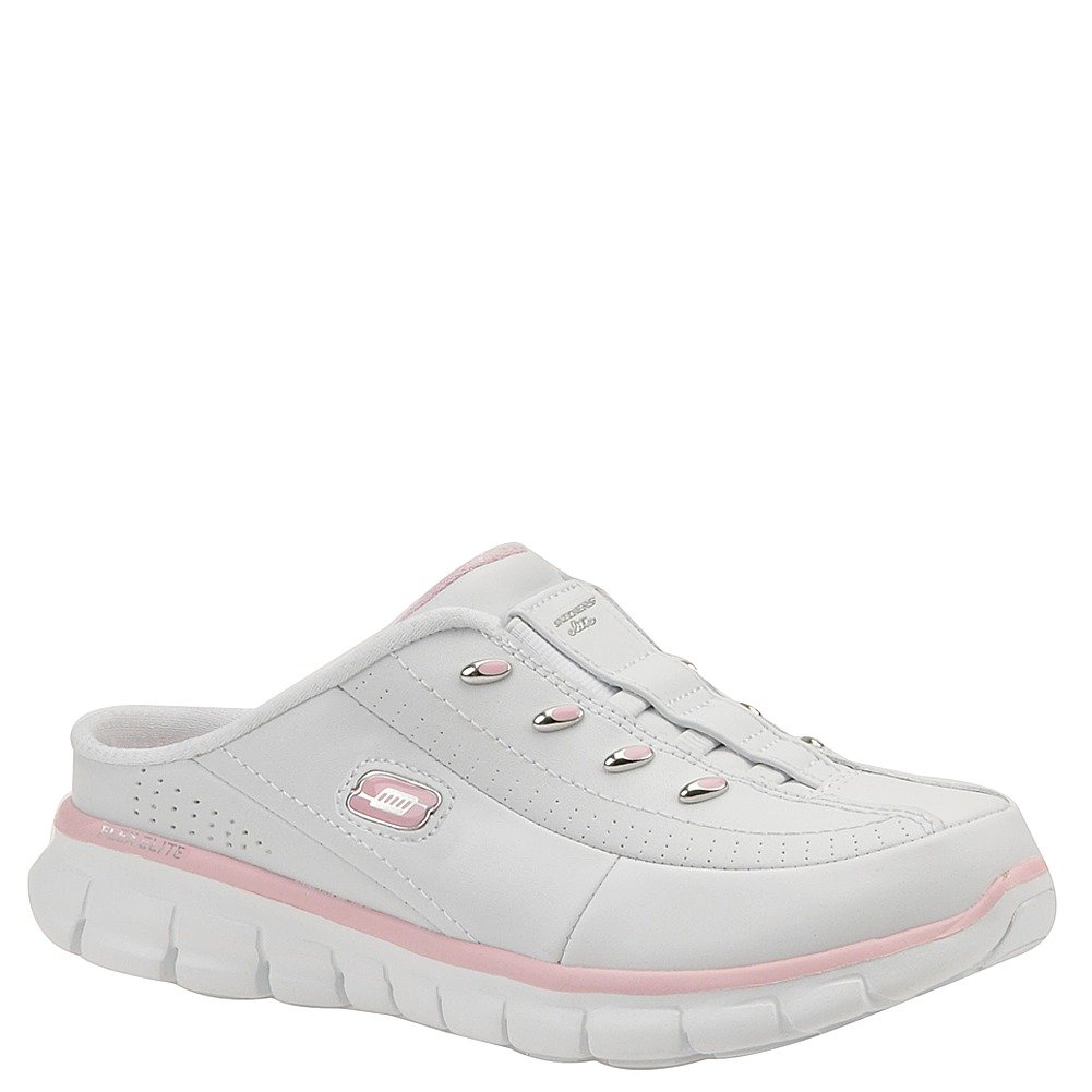 a42904aeec2 Skechers Womens Elite Glam Synery Slip On Mule Clog, White/Pink, 7.5 B(M) US