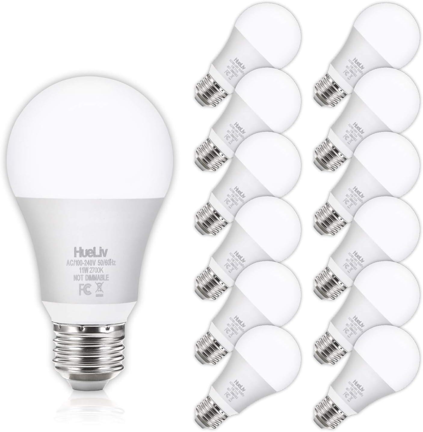 12Pack A19 LED Light Bulbs, 100 Watt Equivalent LED Bulbs, 2700K Warm White, No Flicker E26 Edison Medium Screw Base Bulbs, 1100Lumens, Non Dimmable