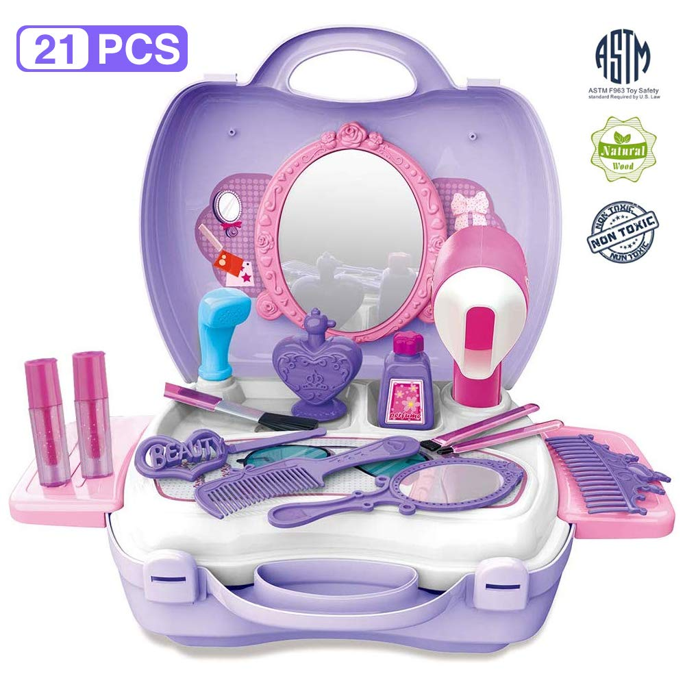 Gizmovine Pretend Toys, Girl Make Up Toys with Carry Case Birthday Gift Christmas Toy Gifts for Girls Kits by Gizmovine
