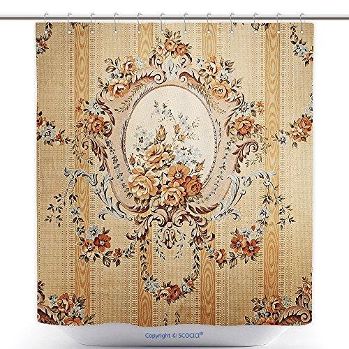 vanfan-Durable Shower Curtains Retro Wallpaper Texture Polyester Bathroom Shower Curtain Set Hooks(36 x 72 inches)