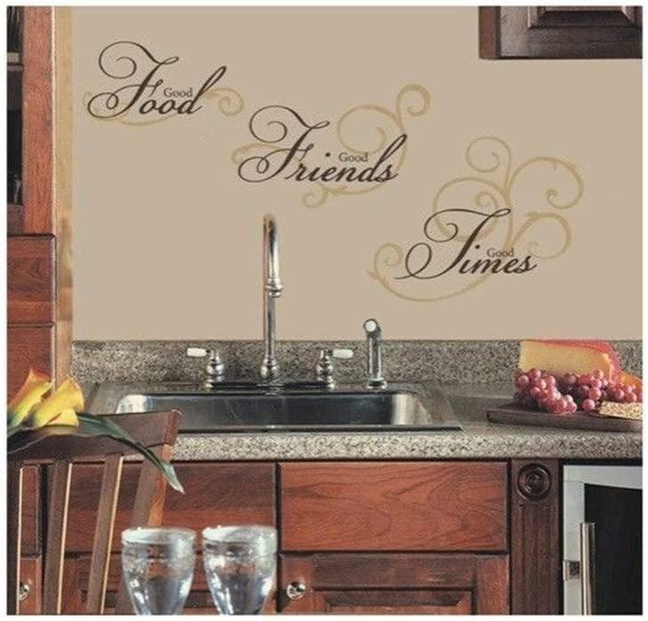 Quotes Wall Sticker Mural Decal Art Home Decor Good Food Good Friends Good Times for Kitchen Dining Room