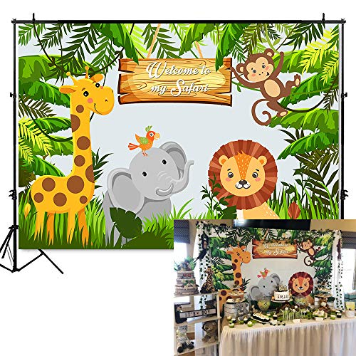 Mehofoto Safari Woodland Happy Birthday Backdrop Safari Jungle Animals Photography Background 7x5ft Vinyl Child Kids Birthday Party Backdrops Banner]()