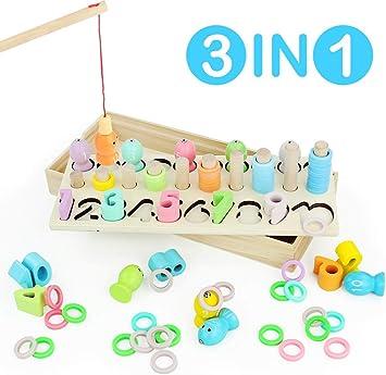 Juegos Educativos Niños Puzzle Bloques de Madera Juguetes de Pesca de Mesa Magnética Regalo para Niñas Niños 3 4 5 6 Años con Pez Números: Amazon.es: Juguetes y juegos