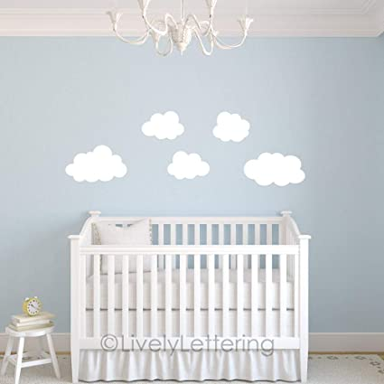 Amazon.com: Puffy Cloud Decals Set of 5 Cloud Wall Decals Nursery ...