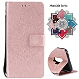 Leather Wallet Case for Samsung Galaxy S9 Plus (2018 Release), Credit Cards & Changes Holder, Colorful Art Mandala Design, Magnetic Durable Flip Cover Kickstand case for S9 Plus(6.2 inch)-Rose Gold