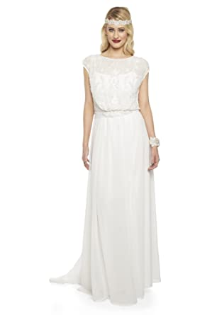 Roselyn Vintage Inspired Prom Maxi Wedding Dress In Off White At