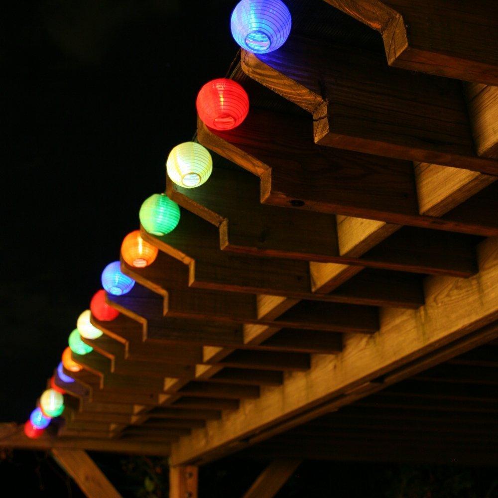 Balcones etc EleganBello Guirnalda Luces 2 LED Linterna 4,8M Coloreado Panel Solar Impermeables Ideal para Jardines /árbol de Navidad Porches
