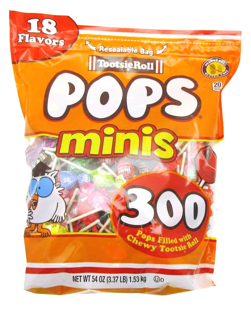 Tootise Roll Assorted Flavor Mini Pops - Bulk Bag of 300 Lollipops, 54 Ounce
