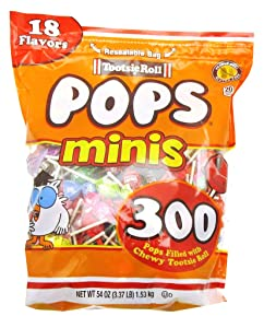Tootise Roll Assorted Flavor Mini Pops - Bulk Bag of 300 Lollipops, 54 Ounce