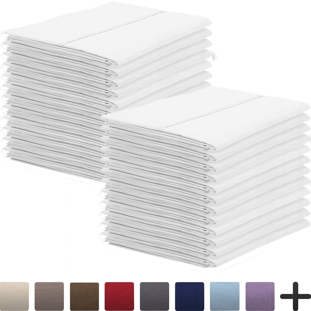 24 Pillowcases - Premium 1800 Ultra-Soft Collection - Bulk Pack - Double Brushed - Hypoallergenic - Wrinkle Resistant - Easy Care (King - 24 Pack, White)