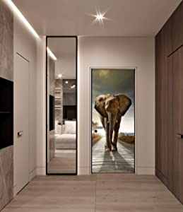 "FLFK 3D Elephant Door Murals Wall Fridge Stickers Mural Self Adhesive Home Decor Wallpaper 30.3""x78.7"""