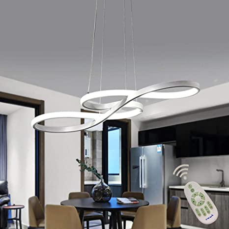Modern LED Acrylic Chandelier Dining Room Dimmable 3000K~6500K Remote  Control Pendant Lights Color/Brightness Adjustable Half Flush Mount Ceiling  ...