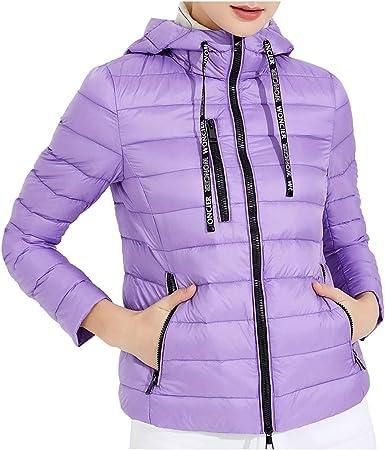 CLOOM Moda Chaqueta De Pluma Algodón Mujer Casual Abrigo Acolchado Plumiferos Corto Jacket Señora Otoño e Invierno Chaqueta De Ultraligera De Cremallera: Amazon.es: Ropa y accesorios