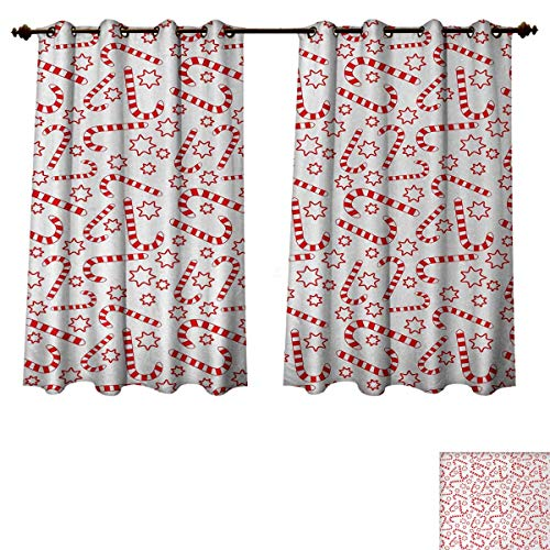 Anzhouqux Candy Cane Blackout Thermal Curtain Panel Illustration of Xmas Themed Figures Traditional Candies and Stars Seasonal Patterned Drape for Glass Door Vermilion White W72 x L45 inch (Candy Glass Rooster)