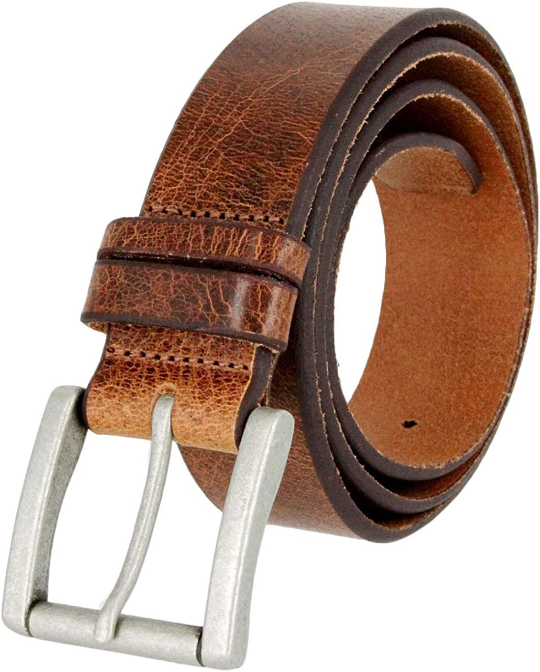 1-1//2 New Western Casual Jean Vintage Leather Belt Tan Color