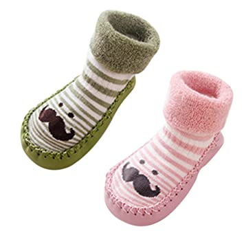 fb6e61d33 Happy Cherry - Bebé Niños Niñas 2 Pares de Zapatillas de Casa para Invierno  Antideslizantes de