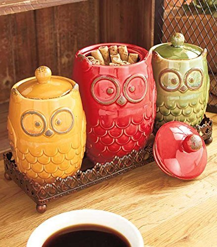 4 Piece Whimsical Ceramic Owl Canister & Metal Tray Kitchen Decor ()