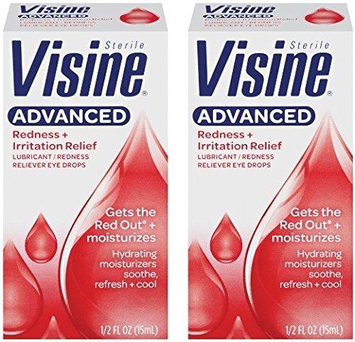 Visine Advanced Eye Drops - Redness + Irritation Relief - Net Wt. 0.50 FL OZ (15 mL) Per Box - Pack of 2