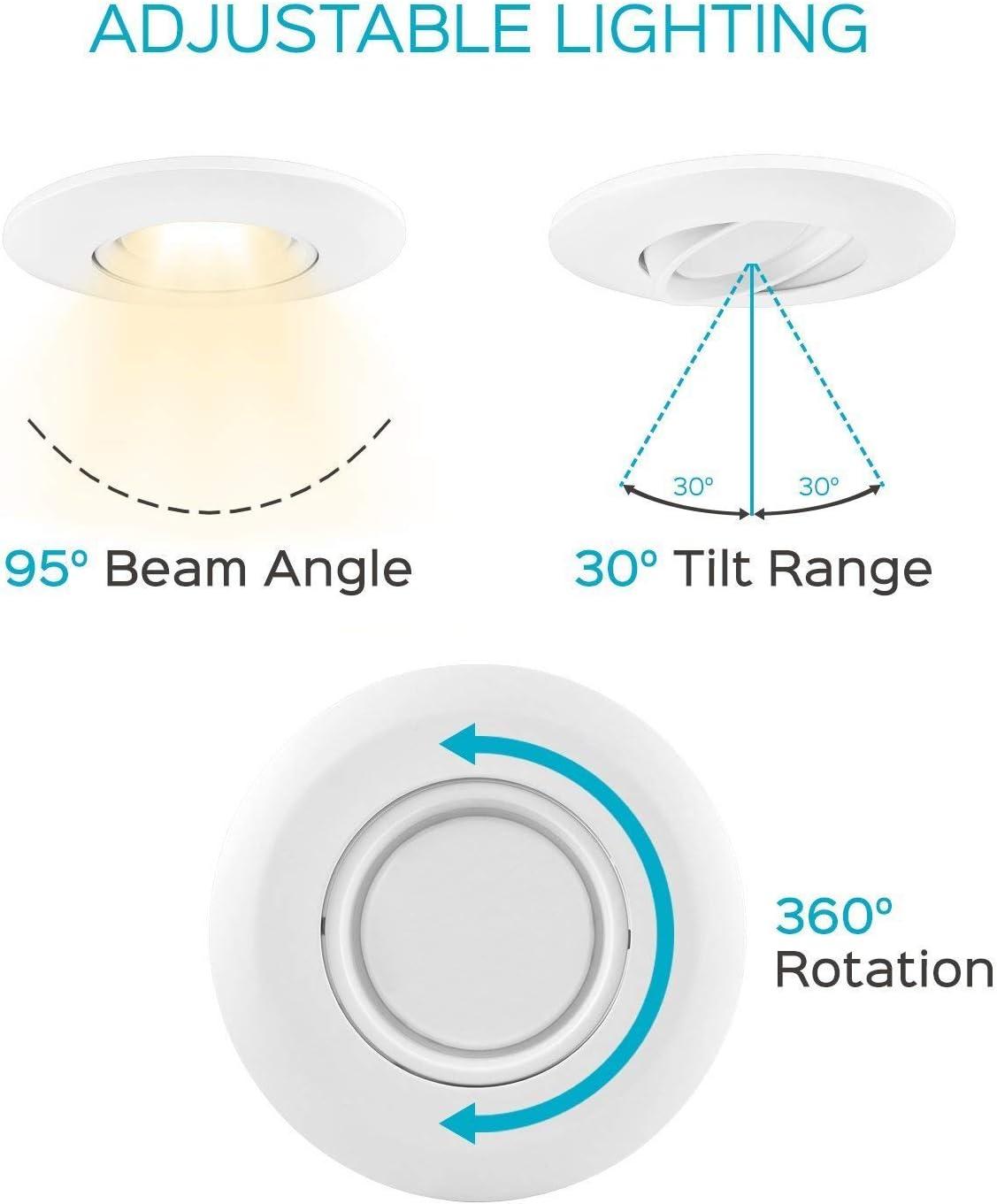 White Trim 4 Pack Dimmable Round 120V- 5 YR Warranty- 50,000 Life Hours 3000 Kelvin 120 Watt Incandescent Equal 1060 Lumens Elite LED 6 Inch Gimbal Adjustable Lens Downlight 15 Watt